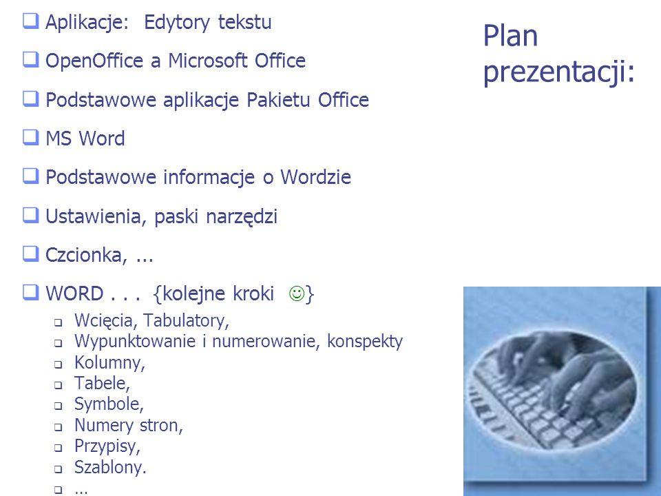 Plan prezentacji: Aplikacje: Edytory tekstu