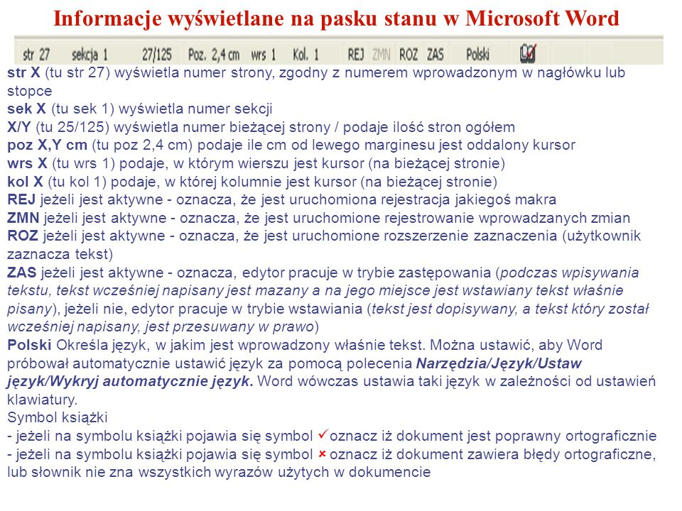 Informacje wyświetlane na pasku stanu w Microsoft Word