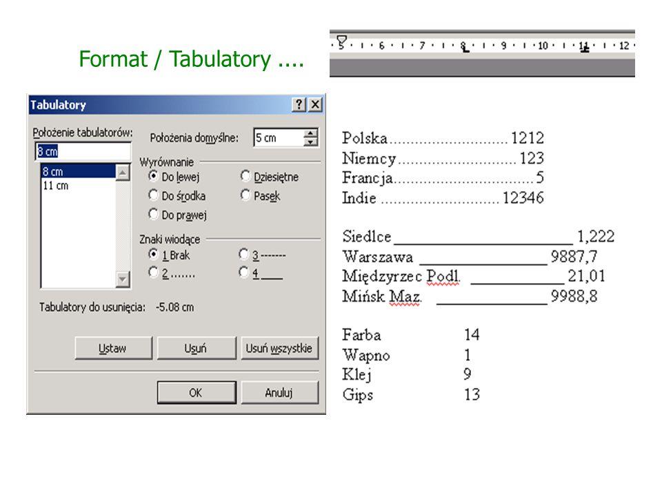 Format / Tabulatory ....