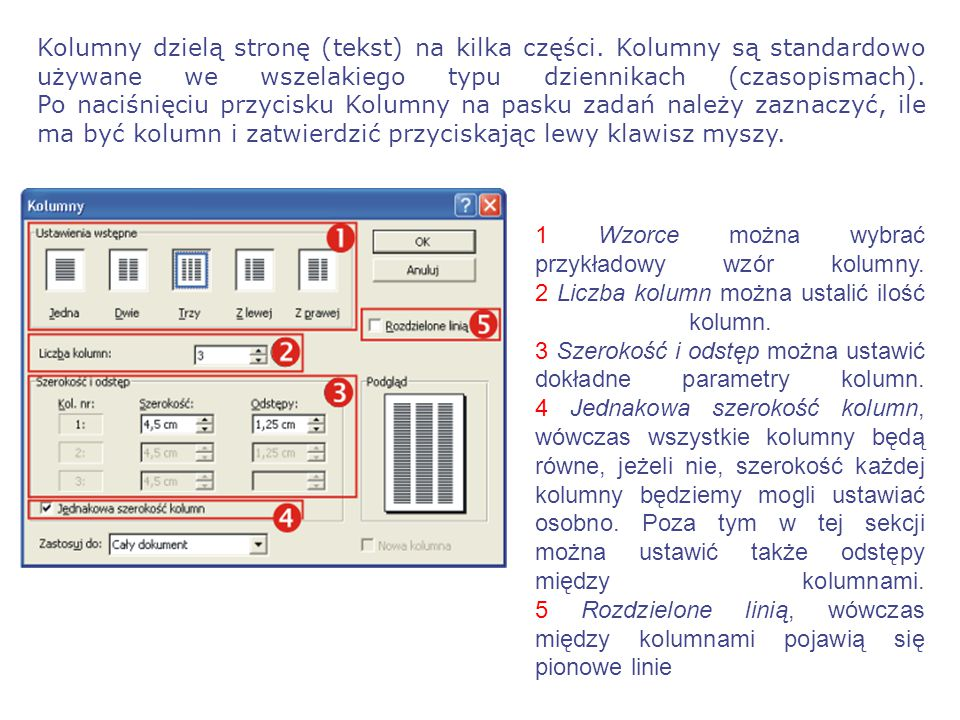 Kolumny dzielą stronę (tekst) na kilka części