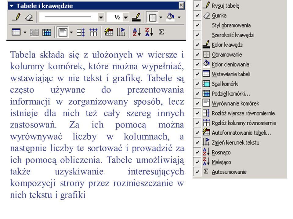 Tabela składa się z ułożonych w wiersze i kolumny komórek, które można wypełniać, wstawiając w nie tekst i grafikę.