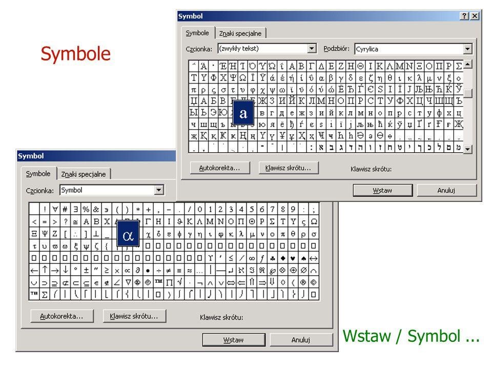 Symbole Wstaw / Symbol ...