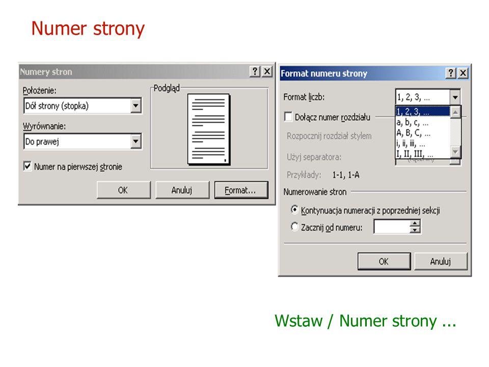 Numer strony Wstaw / Numer strony ...