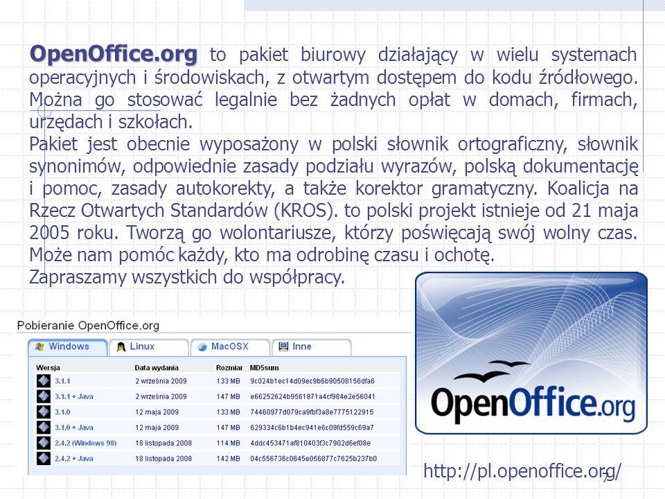 OpenOffice.org to pakiet biurowy działający w wielu systemach operacyjnych i środowiskach, z otwartym dostępem do kodu źródłowego. Można go stosować legalnie bez żadnych opłat w domach, firmach, urzędach i szkołach.