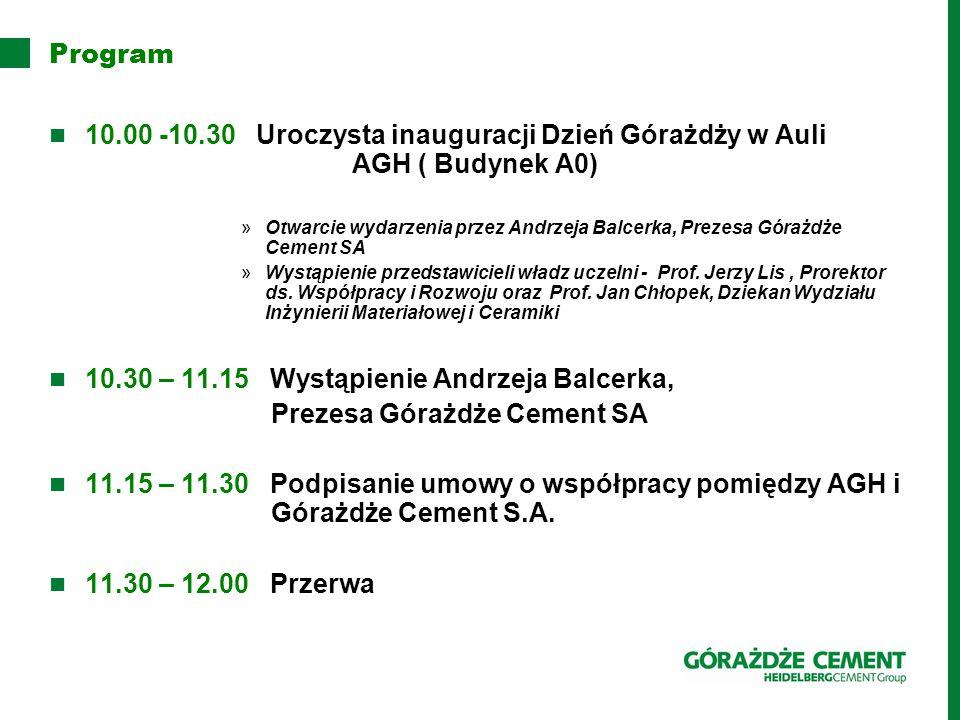 10.30 – 11.15 Wystąpienie Andrzeja Balcerka,