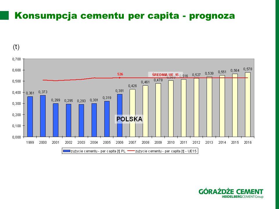 Konsumpcja cementu per capita - prognoza