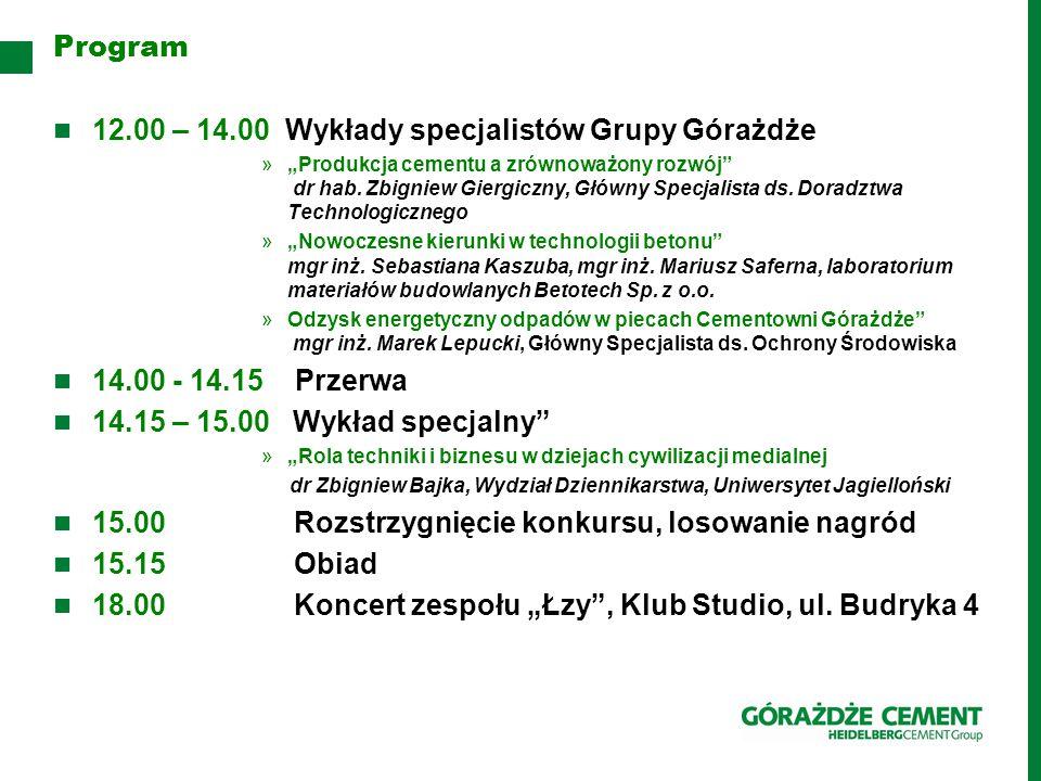 12.00 – 14.00 Wykłady specjalistów Grupy Górażdże