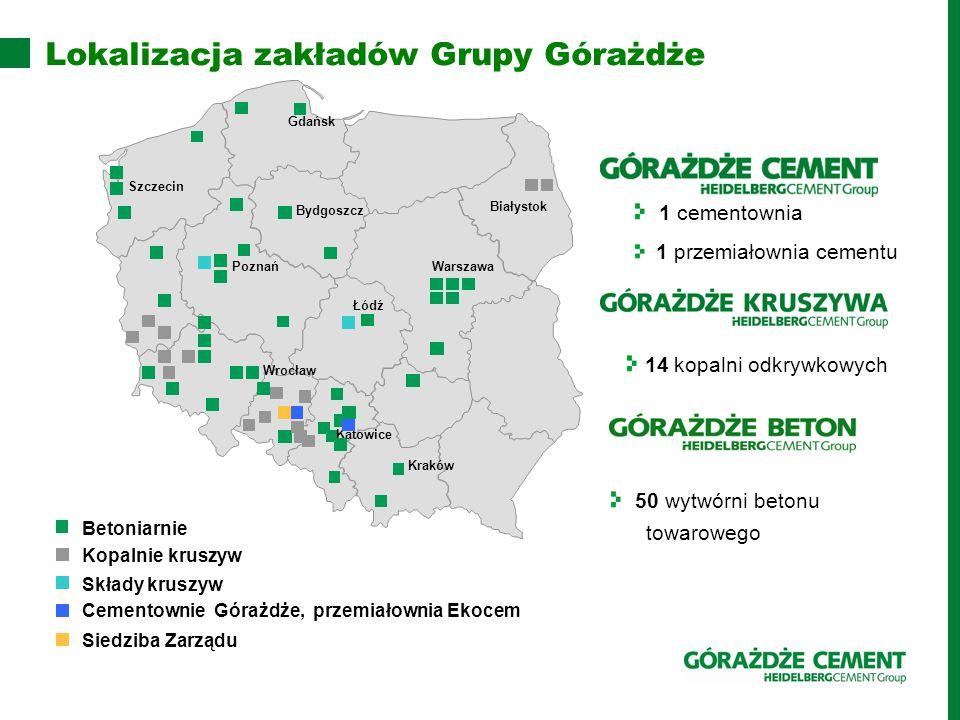 Lokalizacja zakładów Grupy Górażdże
