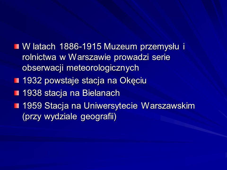 W latach 1886-1915 Muzeum przemysłu i rolnictwa w Warszawie prowadzi serie obserwacji meteorologicznych