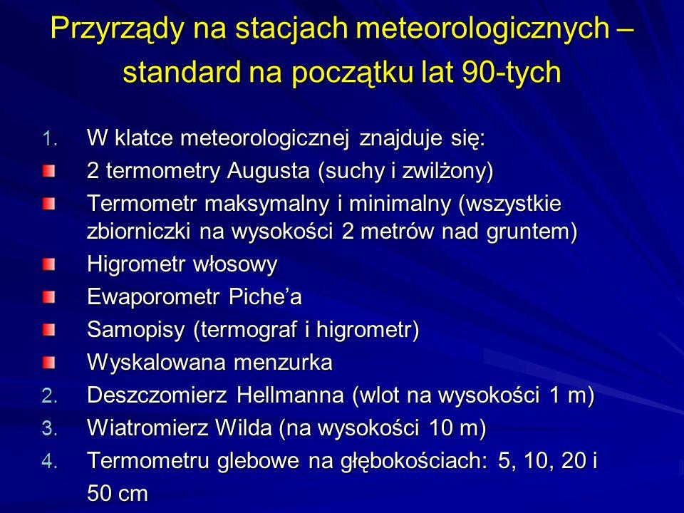 Przyrządy na stacjach meteorologicznych – standard na początku lat 90-tych