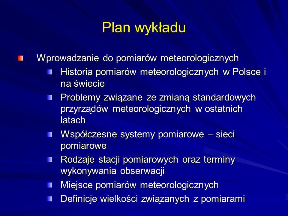 Plan wykładu Wprowadzanie do pomiarów meteorologicznych