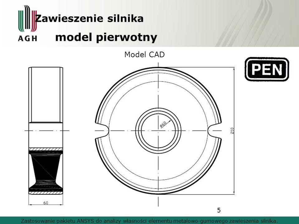 model pierwotny Zawieszenie silnika Model CAD