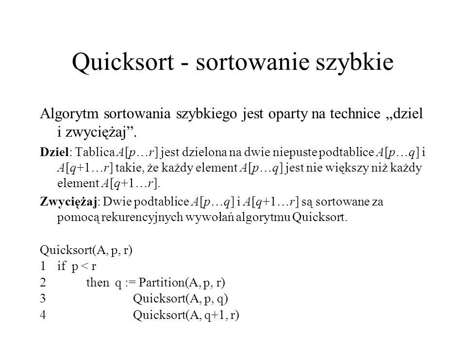 Quicksort - sortowanie szybkie