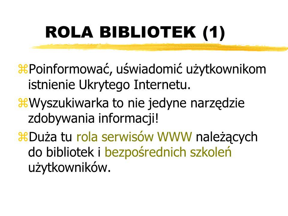 ROLA BIBLIOTEK (1) Poinformować, uświadomić użytkownikom istnienie Ukrytego Internetu. Wyszukiwarka to nie jedyne narzędzie zdobywania informacji!