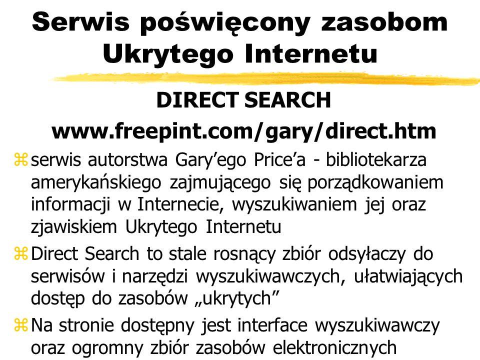 Serwis poświęcony zasobom Ukrytego Internetu