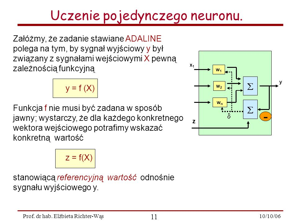 Uczenie pojedynczego neuronu.