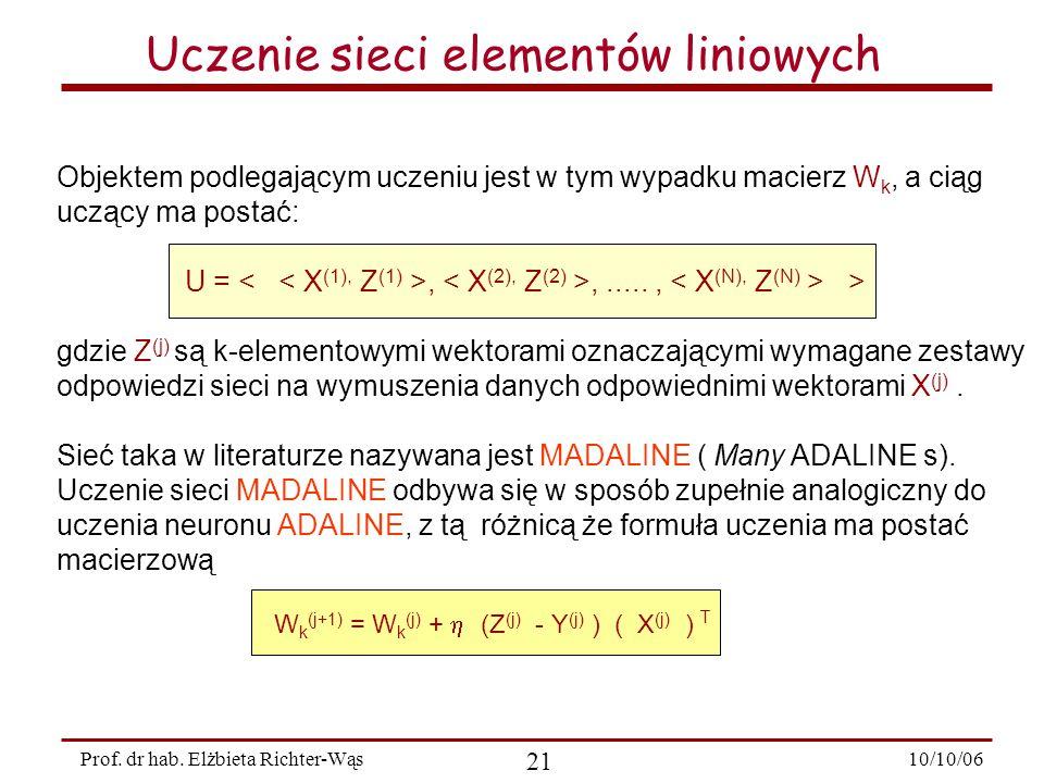 Uczenie sieci elementów liniowych