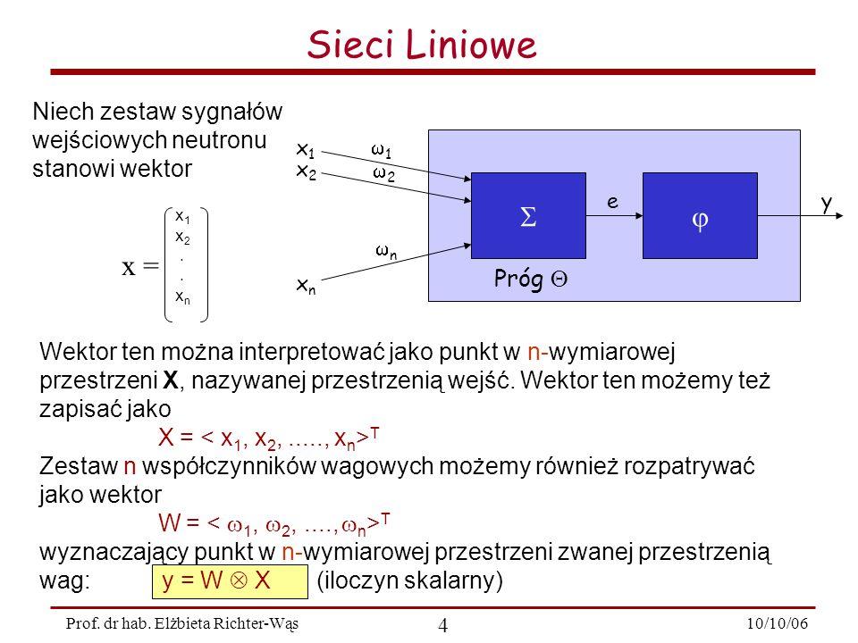 Sieci Liniowe   x = Niech zestaw sygnałów wejściowych neutronu