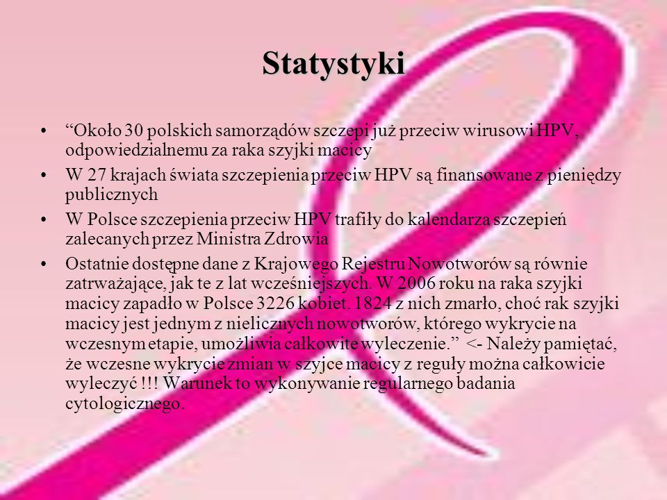 Statystyki Około 30 polskich samorządów szczepi już przeciw wirusowi HPV, odpowiedzialnemu za raka szyjki macicy.