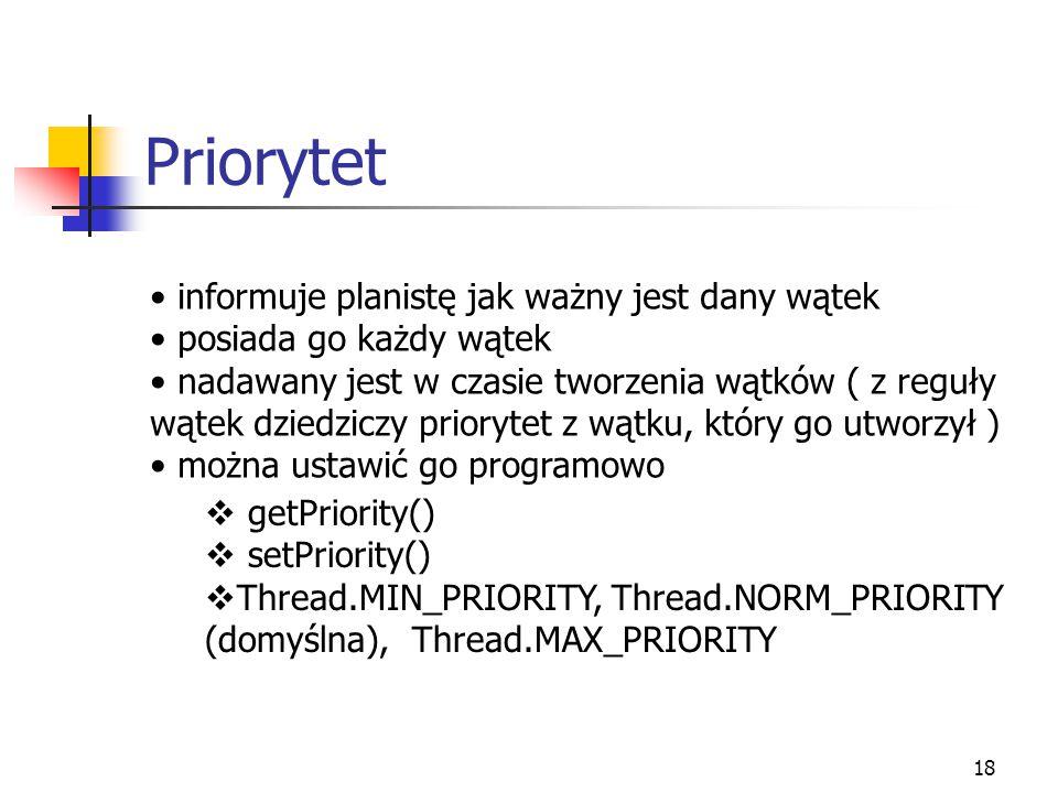 Priorytet informuje planistę jak ważny jest dany wątek