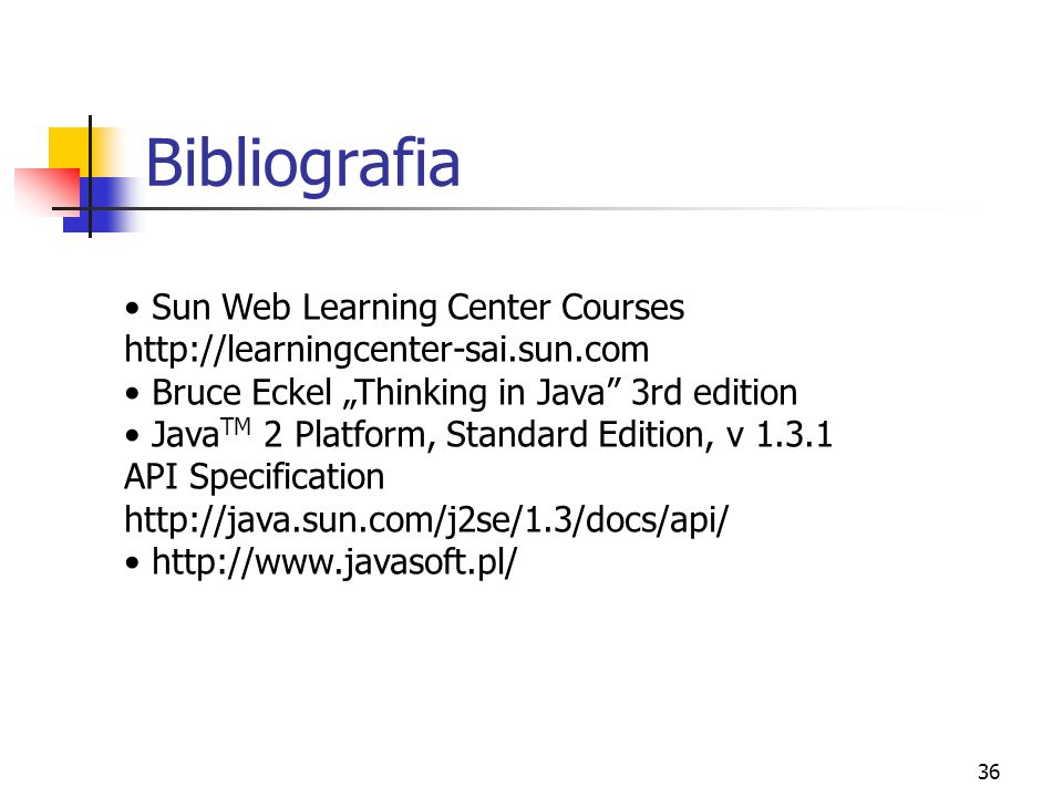 Bibliografia Sun Web Learning Center Courses