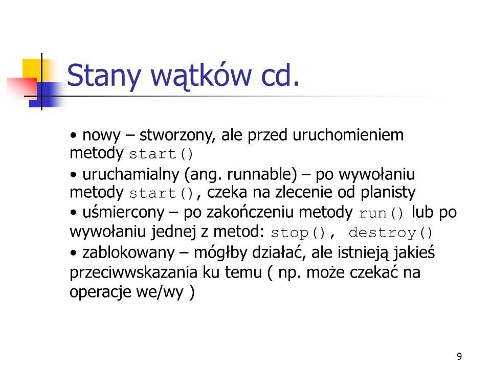Stany wątków cd. nowy – stworzony, ale przed uruchomieniem metody start()