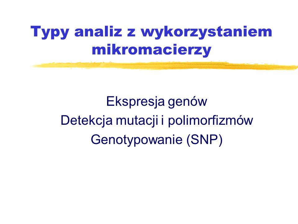 Typy analiz z wykorzystaniem mikromacierzy