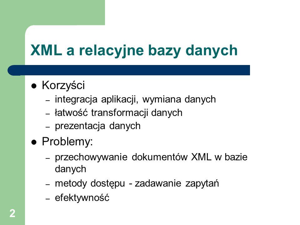 XML a relacyjne bazy danych