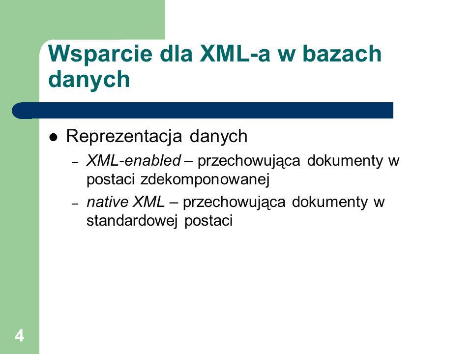 Wsparcie dla XML-a w bazach danych