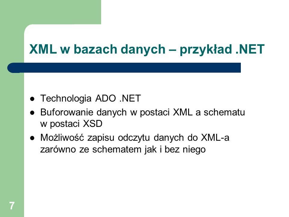 XML w bazach danych – przykład .NET
