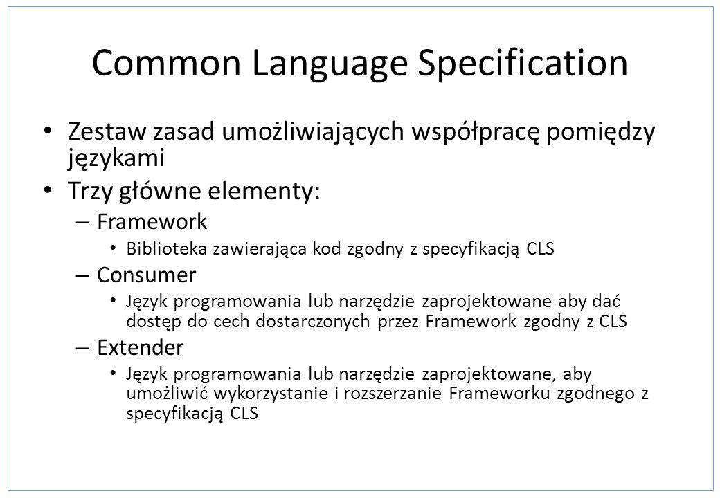 Common Language Specification