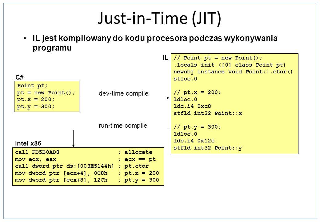 Just-in-Time (JIT) IL jest kompilowany do kodu procesora podczas wykonywania programu. IL. // Point pt = new Point();