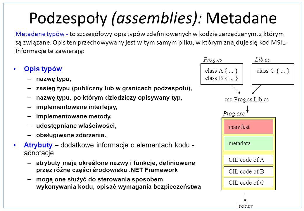 Podzespoły (assemblies): Metadane