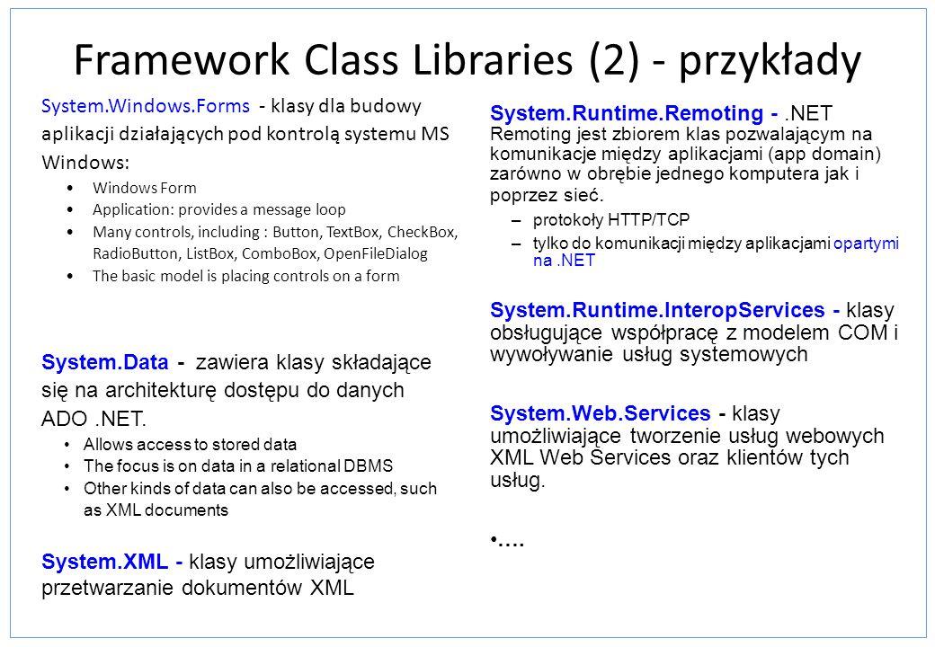 Framework Class Libraries (2) - przykłady
