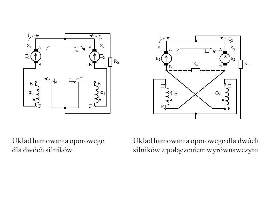 Układ hamowania oporowego dla dwóch silników