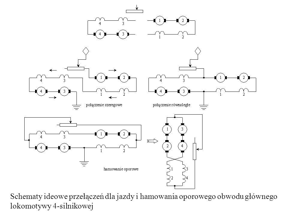 Schematy ideowe przełączeń dla jazdy i hamowania oporowego obwodu głównego lokomotywy 4-silnikowej