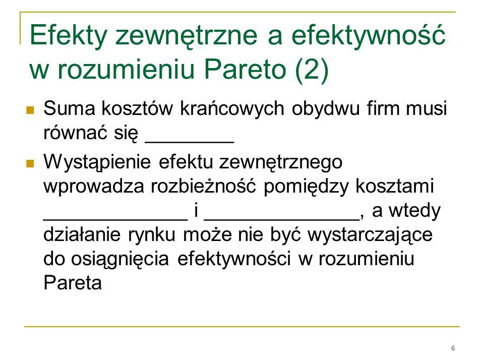 Efekty zewnętrzne a efektywność w rozumieniu Pareto (2)