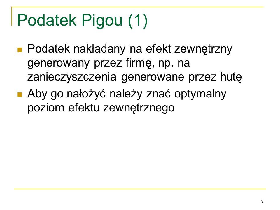 Podatek Pigou (1) Podatek nakładany na efekt zewnętrzny generowany przez firmę, np. na zanieczyszczenia generowane przez hutę.