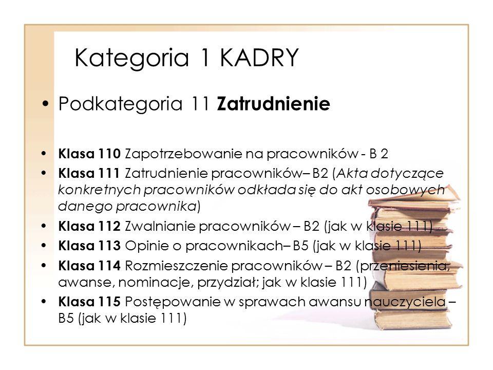 Kategoria 1 KADRY Podkategoria 11 Zatrudnienie