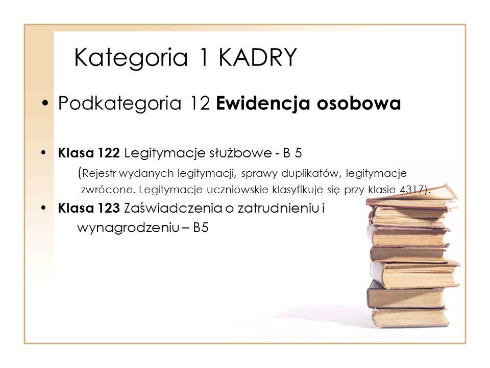 Kategoria 1 KADRY Podkategoria 12 Ewidencja osobowa