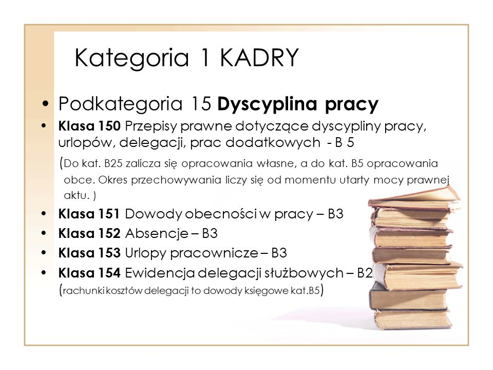 Kategoria 1 KADRY Podkategoria 15 Dyscyplina pracy