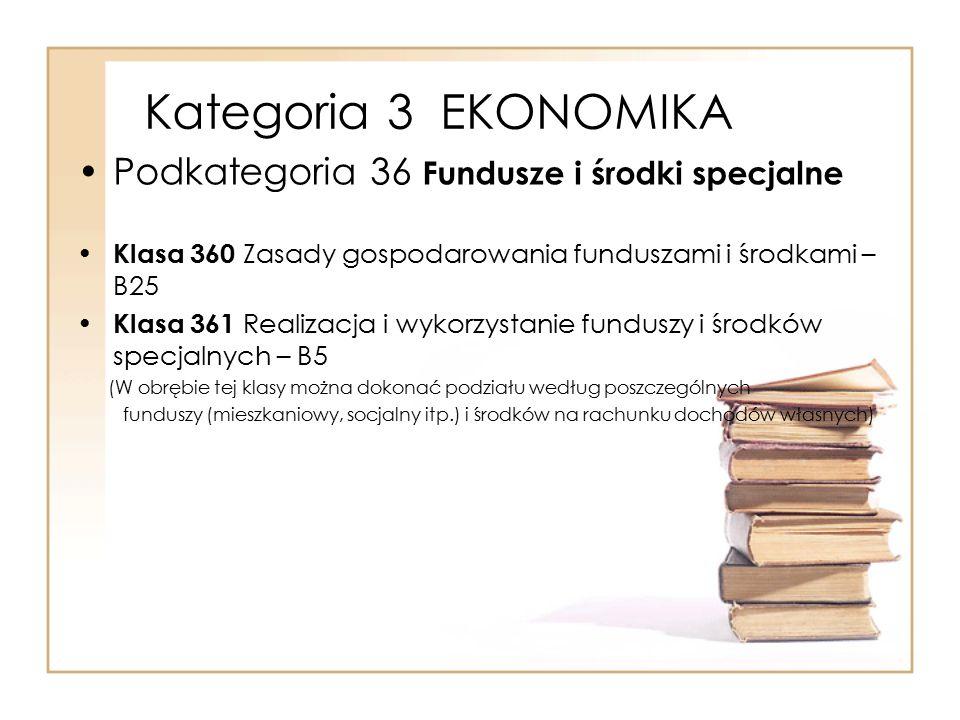 Kategoria 3 EKONOMIKA Podkategoria 36 Fundusze i środki specjalne