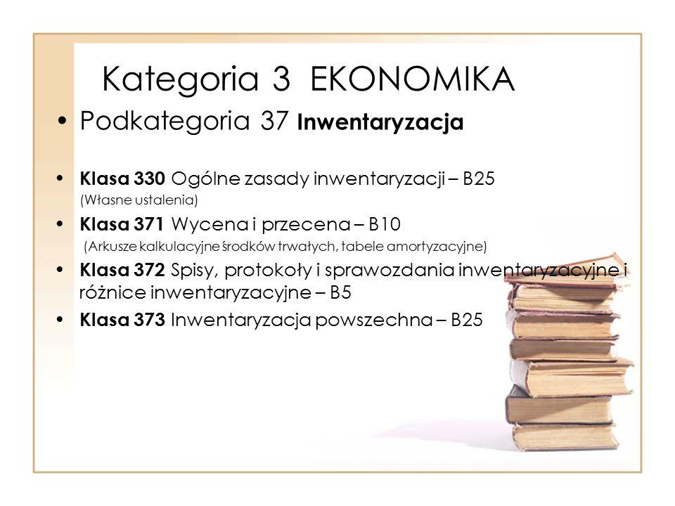 Kategoria 3 EKONOMIKA Podkategoria 37 Inwentaryzacja