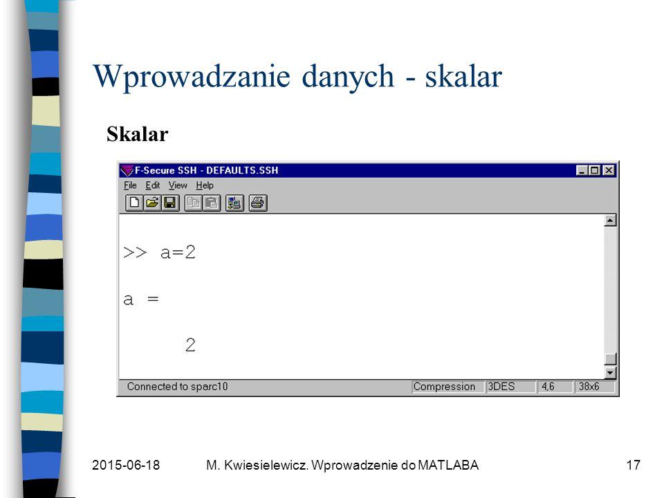 Wprowadzanie danych - skalar