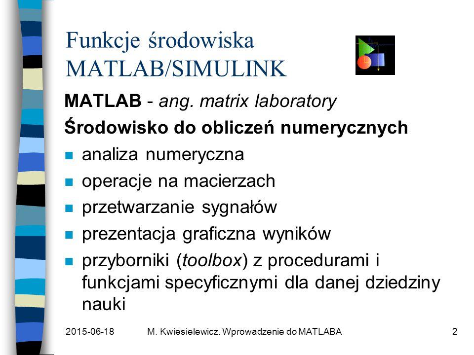 Funkcje środowiska MATLAB/SIMULINK