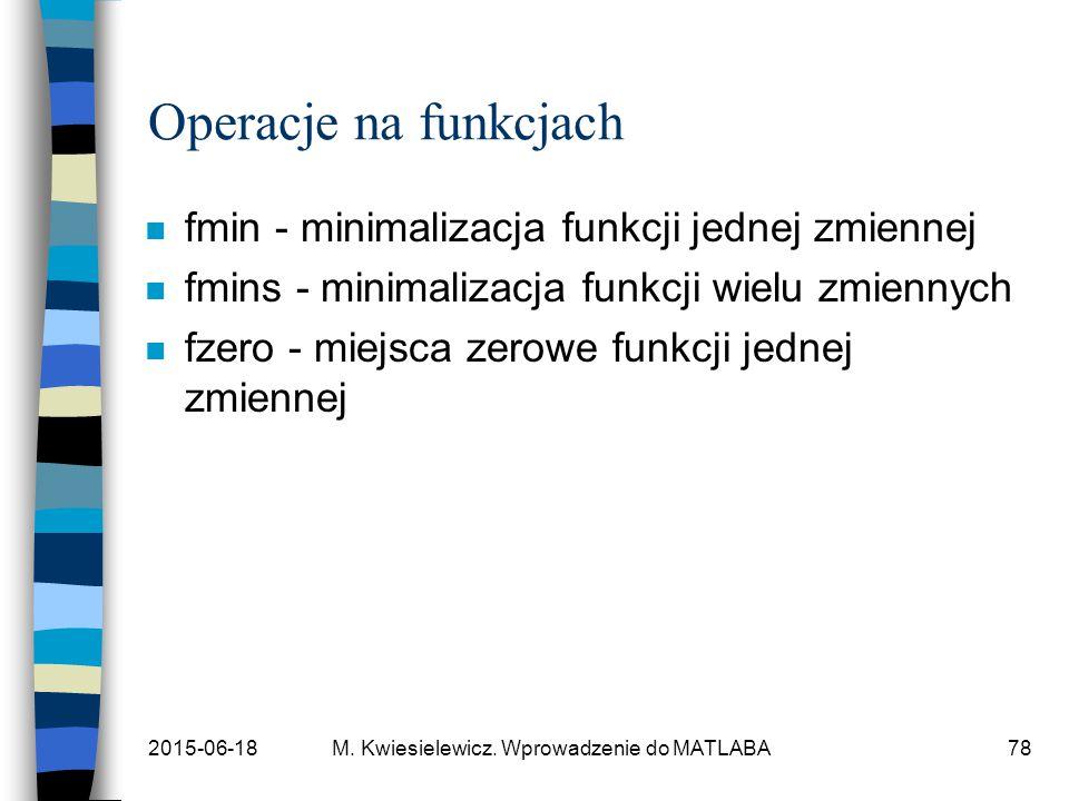 Operacje na funkcjach fmin - minimalizacja funkcji jednej zmiennej