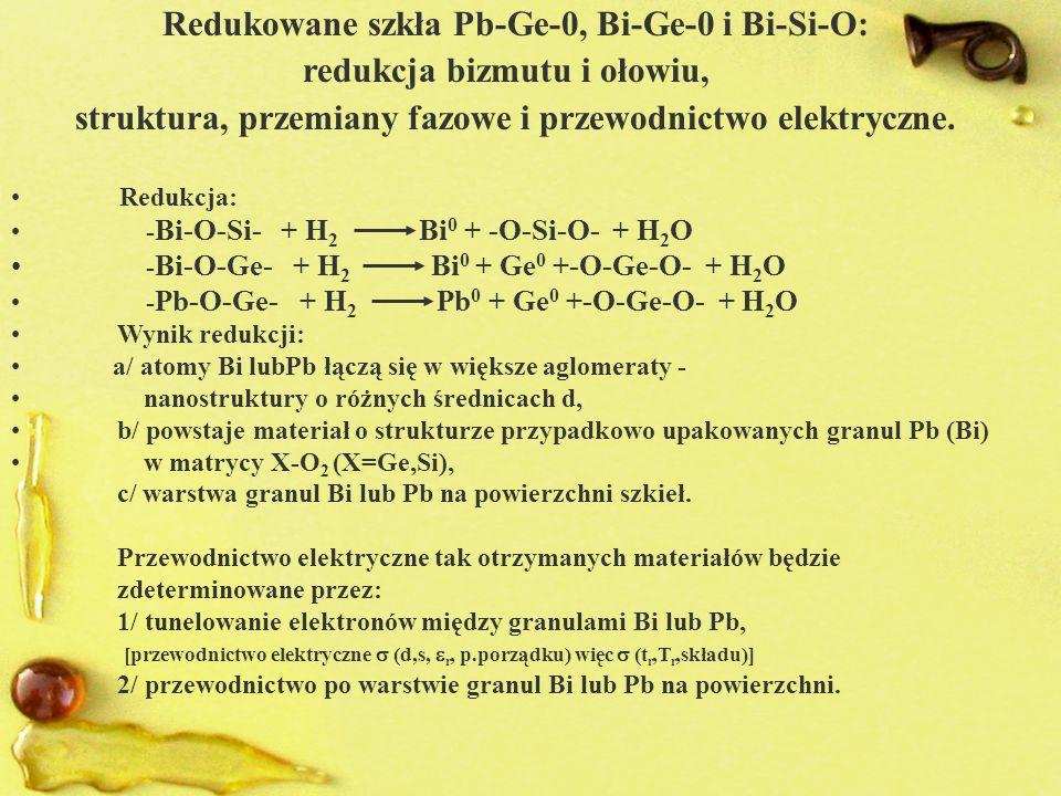 Redukowane szkła Pb-Ge-0, Bi-Ge-0 i Bi-Si-O: