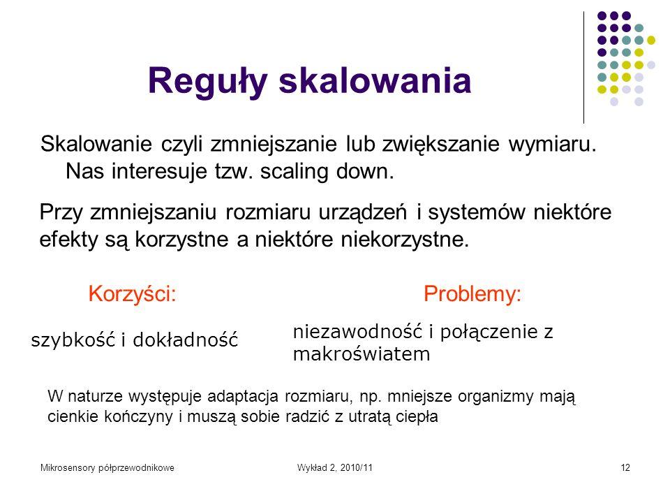 Reguły skalowania Skalowanie czyli zmniejszanie lub zwiększanie wymiaru. Nas interesuje tzw. scaling down.