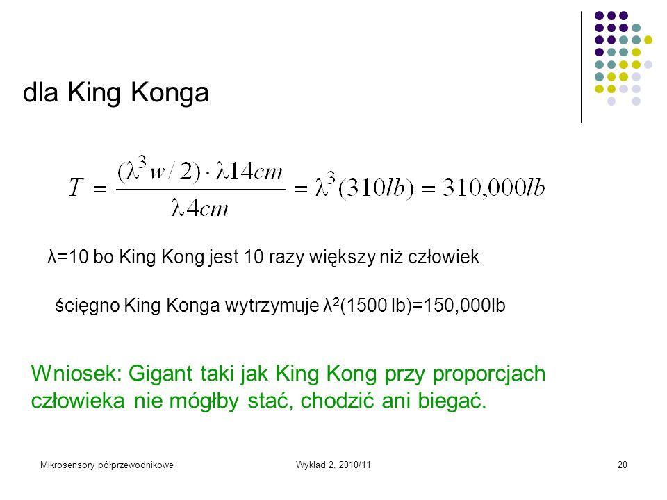 dla King Konga λ=10 bo King Kong jest 10 razy większy niż człowiek. ścięgno King Konga wytrzymuje λ2(1500 lb)=150,000lb.