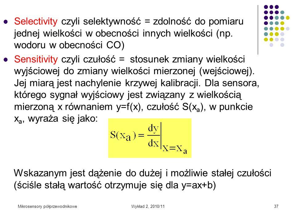 Selectivity czyli selektywność = zdolność do pomiaru jednej wielkości w obecności innych wielkości (np. wodoru w obecności CO)